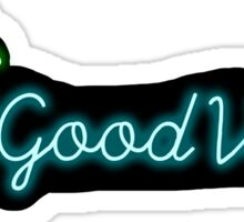 """good vibes"" palm tree neon sign sticker Sticker"