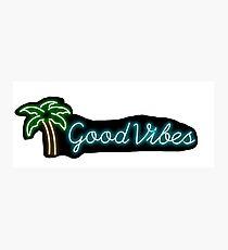 """good vibes"" palm tree neon sign sticker Photographic Print"