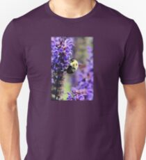 Bee Collecting Pollen From Purple Flower T-Shirt