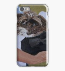 """""""I Got Carried Away"""" Puppy Dog in Equestrian Helmet Painting iPhone Case/Skin"""
