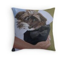 """""""I Got Carried Away"""" Puppy Dog in Equestrian Helmet Painting Throw Pillow"""