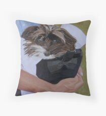 """I Got Carried Away"" Puppy Dog in Equestrian Helmet Painting Throw Pillow"