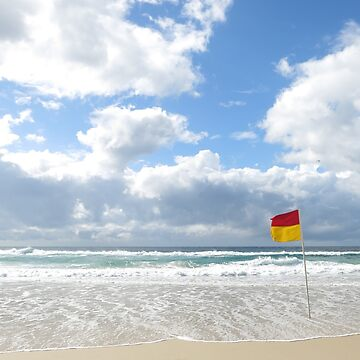 beautiful beach with a flag by newbietraveller