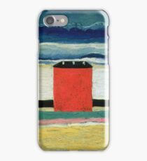 Kazimir Malevich - Red House. Abstract painting:  beach, building, sea,  house, horizon,  water, creative fusion, spot, shape, illusion, fantasy future iPhone Case/Skin