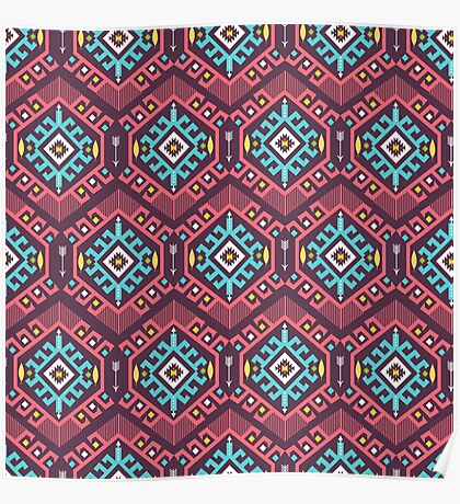 Aztec geometric seamless  colorful pattern Poster