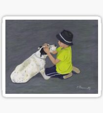 Little Boy and Bull Terrier Dog Sticker
