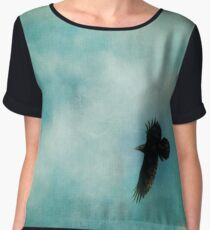 Cloudy spring sky with a soaring raven  Women's Chiffon Top