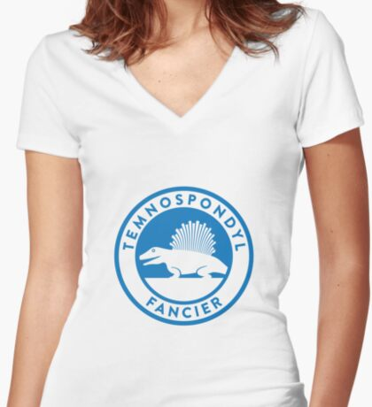 Temnospondyl Fancier Tee (Blue on White) Women's Fitted V-Neck T-Shirt