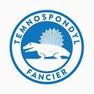 Temnospondyl Fancier Tee (Blue on White) by David Orr