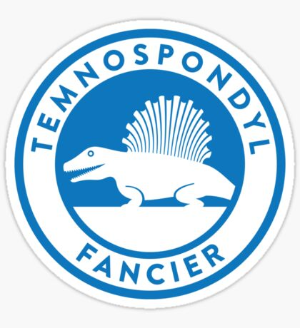 Temnospondyl Fancier Tee (Blue on White) Sticker