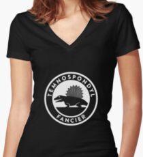 Temnospondyl Fancier Tee (White on dark) Women's Fitted V-Neck T-Shirt