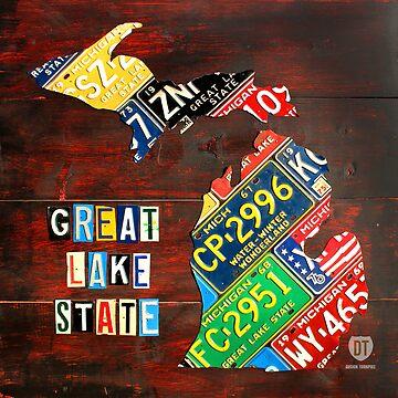 Michigan License Plate Map Art Large Great Lake State by designturnpike