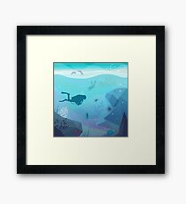 Underwater Diving Landscape Framed Print