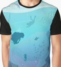Underwater Diving Landscape Graphic T-Shirt