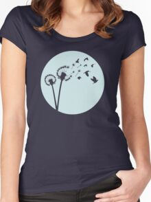 Dandelion Bird Flight Women's Fitted Scoop T-Shirt