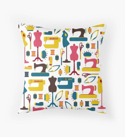 Sewing Accessories Throw Pillow