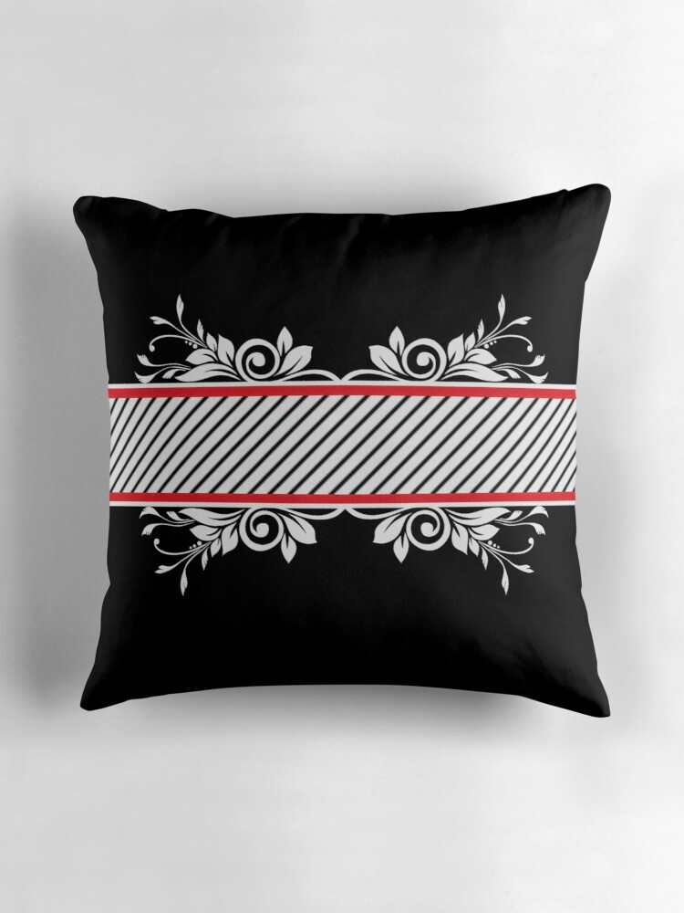Black White Stripe Floral Pattern Print Pillow Throw Pillows by