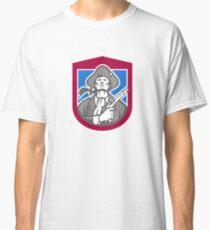 American Patriot With Flintlock Shield Retro Classic T-Shirt