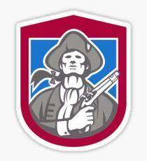 American Patriot With Flintlock Shield Retro Sticker
