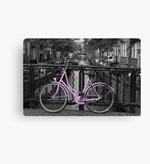 Pink Bicycle By The Canal Canvas Print