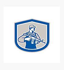 Soldier Military Serviceman Rifle Side Crest Retro Photographic Print