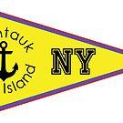 MONTAUK LONG ISLAND NEW YORK ANCHOR NAUTICAL SAILING FLAG PENNANT by MyHandmadeSigns