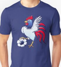 Rooster Posing and Stepping on a Soccer Ball Slim Fit T-Shirt