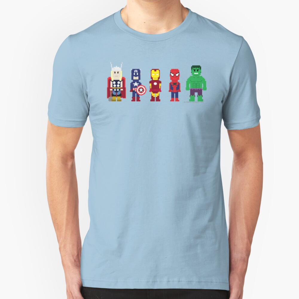 8-Bit Super Heroes! Slim Fit T-Shirt