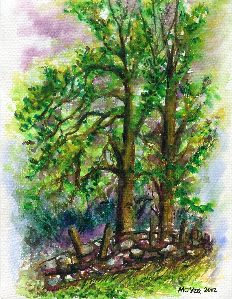 Watercolour painting, Two trees landscape art by Marion Yeo