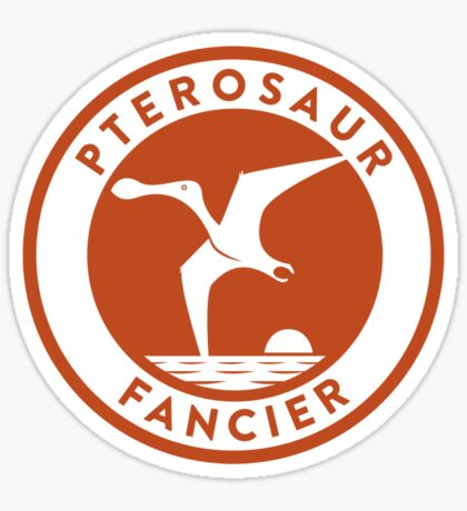 Pterosaur Fancier Tee (Orange on White) Sticker
