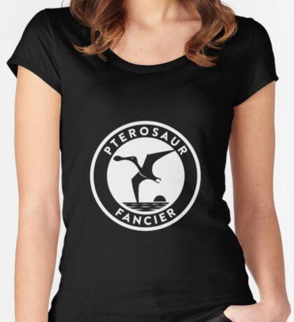 Pterosaur Fancier Tee (White on Dark) Women's Fitted Scoop T-Shirt