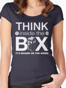 Think Inside The Box, Witty Dr Who Quote Women's Fitted Scoop T-Shirt