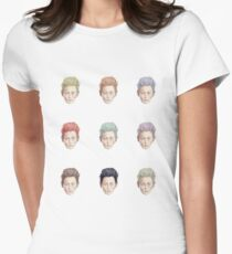 Colorful Tilda Heads on White T-Shirt