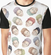 Colorful Tilda Heads on White Graphic T-Shirt