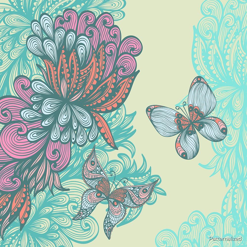 Butterfly & Rose by Patternalized
