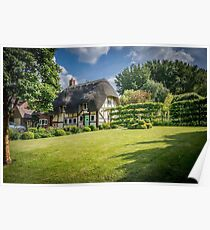English Village Thatched Cottage and garden Poster