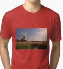 Cley Windmill - Unusual Aeriel shot Tri-blend T-Shirt