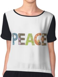 Peace Word Floral Pattern Illustration Chiffon Top