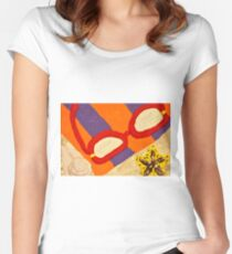 Beach Towel with Glasses, Seashell, and Starfish Women's Fitted Scoop T-Shirt