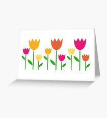 Fresh cute colorful Tulips isolated on white Greeting Card