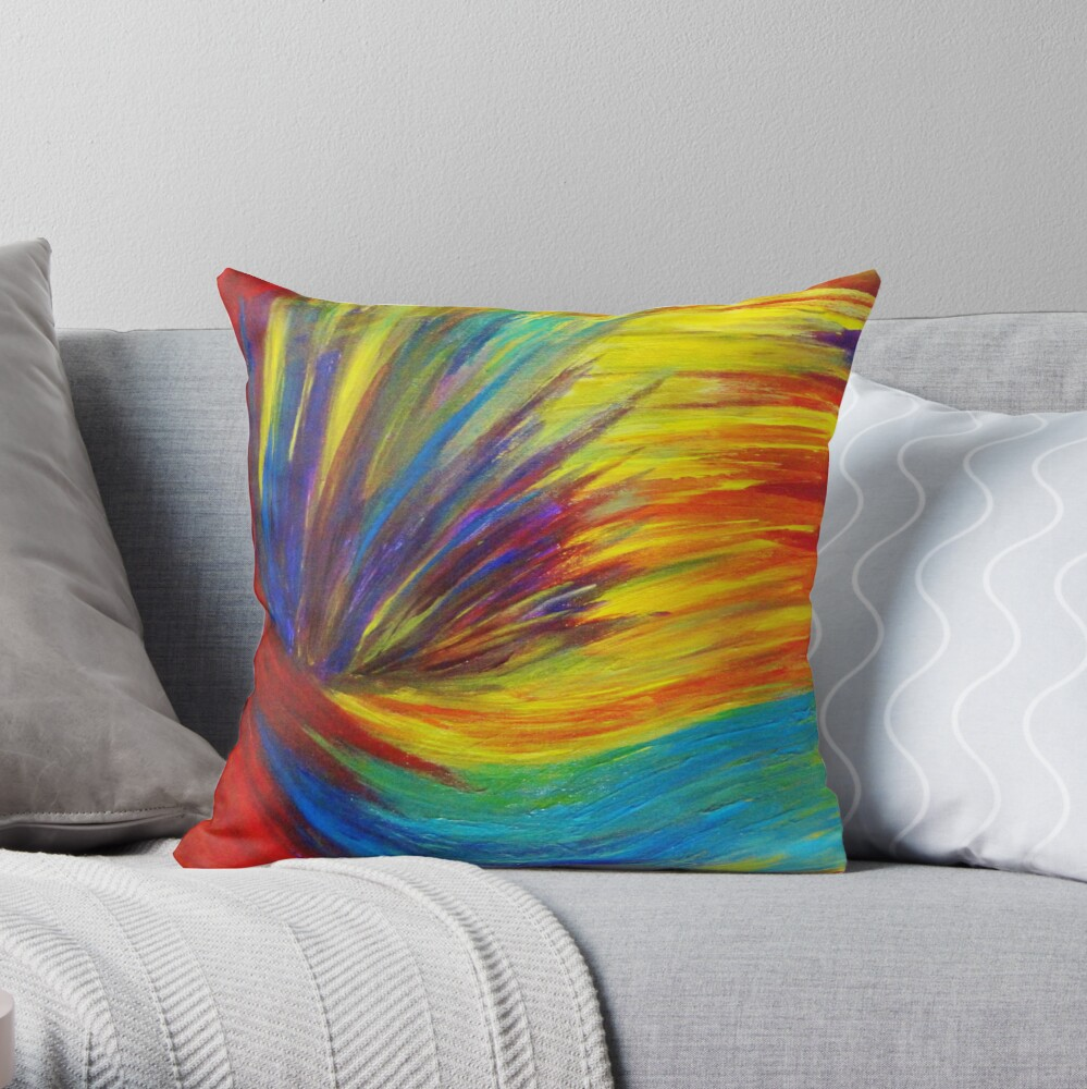 RAINBOW EXPLOSION - Vibrant Smile Happy Colorful Red Bright Blue Sunshine Yellow Abstract Painting  Dekokissen