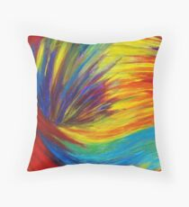 Cojín RAINBOW EXPLOSION - Vibrant Smile Happy Colorful Red Bright Blue Sunshine Yellow Abstract Painting