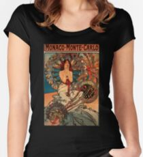 'Monaco' by Alphonse Mucha (Reproduction) Women's Fitted Scoop T-Shirt