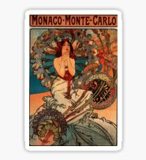 'Monaco' by Alphonse Mucha (Reproduction) Sticker
