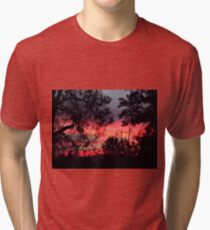 Sunset behind desolate trees 2 Tri-blend T-Shirt