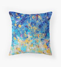 HYPNOTIC BLUE SUNSET - Simply Beautiful Royal Blue Navy Turquoise Aqua Sunrise Abstract Nature Decor Throw Pillow