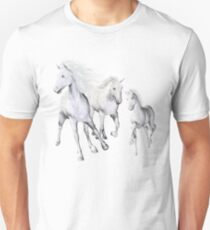 White Horses On The Beach Unisex T-Shirt