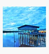 rural fishing cabin by the lake in the morning Photographic Print