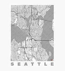 Seattle Map Line Photographic Print