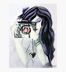Violet the Vampire with Camera Pastel Drawing Photographic Print